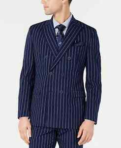 Bar III Slim-Fit Pinstripe Double Breasted Suit Jacket $295 Size 38S # 5A 1598 N