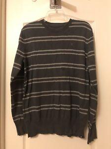 Men's Crew Neck Hurley Gray Striped Sz Large Sweater