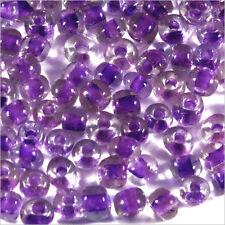Perles de Rocailles en verre Transparent 4mm Centre Mauve 20g