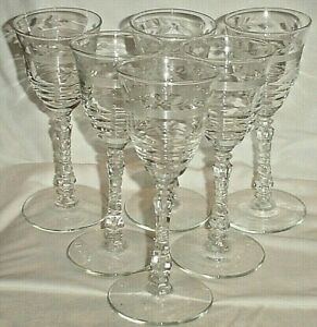 """6 WINE GLASSES CUT CRYSTAL Libbey ROCK SHARPE 3005-9 FLORAL ETCHED BAND/6.75"""""""