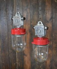 Red Industrial Pendant Lights with Glass Domes - Rewired
