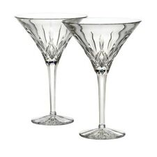 Set of 2 Waterford Cut Crystal Lismore tall Martini Glasses