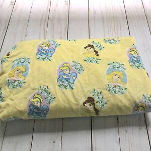Disney Princess Fit Crib Sheet Toddler Bed Cinderella Belle Aurora Cameo Yellow