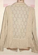 MAURICES Jacket Blazer Coat Stretchy Oatmeal w/Lace Back Sz 2  (2XL)