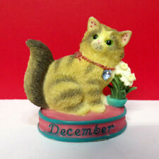 Miniature Calico Kittens December Turquoise-Narcissus Cat Figurine