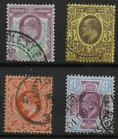 KEVII - 4 Values In VFU Condition With Original Colours.  Ref:0714