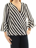 INC INTERNATIONAL CONCEPTS Size L Striped Bell Sleeve Faux Wrap Top BLACK WHITE