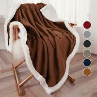 Throw Sherpa Flannel Fleece Blanket Extra Soft Reversible 50×60 Plush Fabric