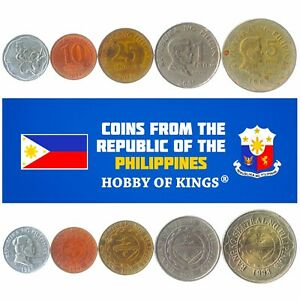 5 PHILIPPINE COINS. COLLECTIBLE MONEY FROM ASIA. OLD FILIPINO FOREIGN CURRENCY
