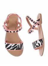 Gymboree Girl's Animal Party Black Zebra Stripe Sandals Shoes Girl Size 12 New