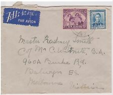 (OW-67) 1940 NZ air mail 5d letter to Balwyn Victoria (B) used