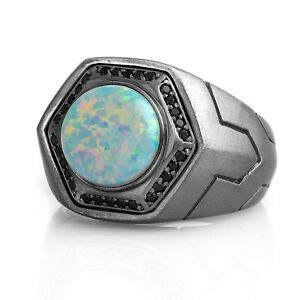 Mens Opal Ring Opal Gemstone Rings For Man Oxidized Silver Signet Ring Gift Him