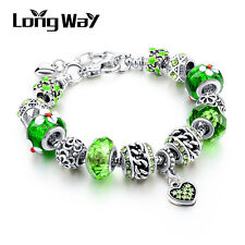 Silver Glass Beads Bracelet With Green Crystal European Charms Fit Women A