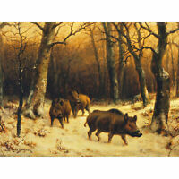 Bonheur Wild Boars Winter Snow Painting Large Canvas Art Print