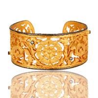 18K Yellow Gold Plated Brass Filigree Wide Cuff Bracelet Bangle jewelry
