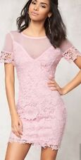 BOHO WOMEN LACE DRESS PINK BODYCON PROM CASUAL PARTY COCKTAIL GLAM 8 10 12 14