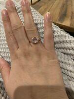 Rose Quartz Ring Size 7.5 Plated