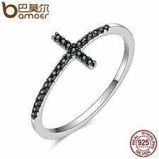Bamoer Fine S925 Sterling Silver Ring With CZ Cross Faith For women Gift Jewelry