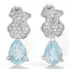 Ohrringe/Ohrstecker Jill, 925er Silber, 0,82 Kt. echter Blautopas/Diamant