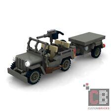 CUSTOM PDF Bauanleitung WW2 WWII Army Willys Jeep M416 Trailer für LEGO® Steine