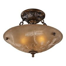 Elk 3 Light Semi Flush Mount Ceiling Lighting Fixture, Bronze, Amber Glass