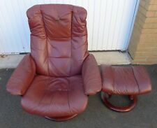 EKORNES STRESSLESS RECLINING ARMCHAIR & STOOL DAMAGED LEATHER NO RESERVE AUCTION