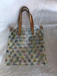 Signature Dooney and Bourke small clear lunch mini tote handbag,multicolor,EUC