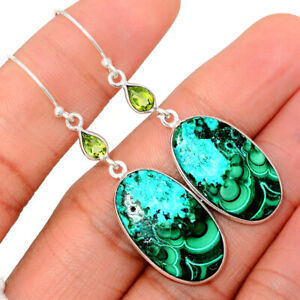 Malachite In Chrysocolla & Peridot 925 Sterling Silver Earrings Jewelry BE12227