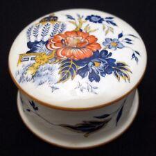 Crown Staffordshire Penang Pattern Trinket Box / Covered Dish Orange Blue