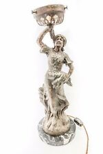 Antique Lamp of Woman Holding Lamp In Right Hand and Sheaths of Wheat in Left