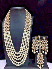 Indian Bollywood Wedding Long Kundan Pearl Bridal Gold Plated Necklace Set 5 Row