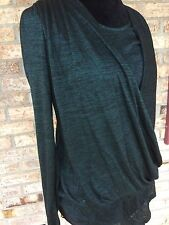 Allison Brittany Womans Black Wrap Waist Layered Top Long Sleeve Size Small NWOT