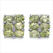 Exclusivo 2,40 quilates Peridoto Pendientes de diamante plata 925 Elegancia