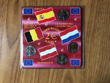 CONFEZIONE 4 MONETE 2 EURO SPAGNA BELGIO AUSTRIA LUSSEMBURGO 2005 FDC SUBALPINA