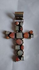 """Very Large 3.5"""" Mexican Sterling Silver Cross Pendant with pink & grey stones"""