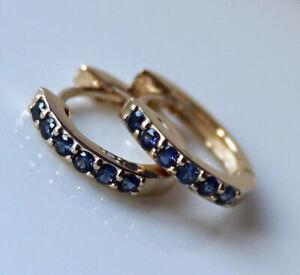 s E180 Genuine 9K Gold NATURAL Sapphire Huggie Earrings September birthstone
