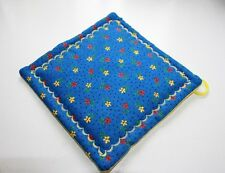 New listing Handmade Potholder Retro floral Blue and Yellow