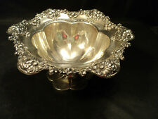 ANTIQUE INTERNATIONAL STERLING SILVER COMPOTE, REPOUSSE FLORAL BORDER, 530 GRAMS