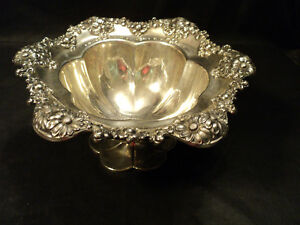 International Sterling Silver Compote, Repousse Floral Border, 530 Grams