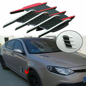 Car Auto Hood Side Flow Vent Fender Grille Cover Stickers Black Mesh Accessory