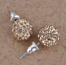 Aretes Bola de Cristal con Diamantes Colores Para Mujer y Niña ~ Women Earrings