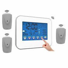 Wireless Thermometer Hygrometer Touch Screen Digital LCD Display Indoor Outdoor