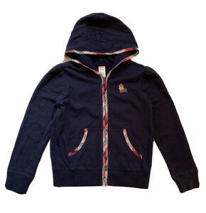 Gymboree Girls Navy Blue w/Red/Pink Plaid Zip Front Hoodie Sweatshirt Size M 7-8