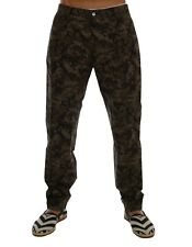 NEW $700 DOLCE & GABBANA Pants Black Green Cotton Military Pattern s. IT46 / W32