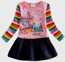 Pinky Rainbow Cartoon peppa pig long sleeve dresses for autumn winter Girls 1-2y