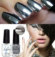2 bottle 6ml Silver Mirror Effect Nail Art Polish Varnish & Base Coat Set DIY