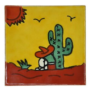 Alonzo - Handmade Mexican Ceramic Talavera Large 10.5cm Tile Ethically Sourced