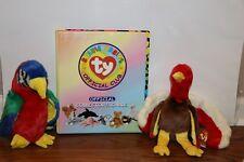 Beanie Babies TY Cards Binder Plush Turkey Parrot Stuffed Animal Bird Lot