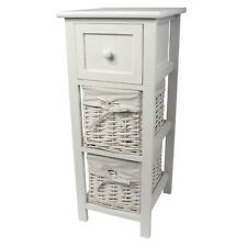SHABBY CHIC WHITE BEDSIDE/LAMP TABLE 2 BASKETS 1 DRAWER UNIT *BUY 2 SAVE 10%