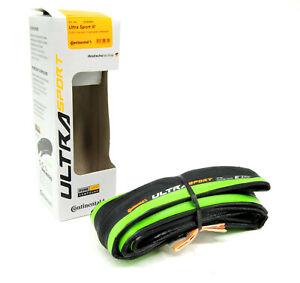 Continental Ultra Sport III 700x23 Black/Green Folding PureGrip 3 Road Bike Tire